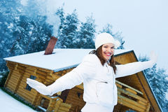 Happy young woman outdoors royalty free stock photo