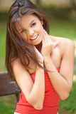 Happy young woman outdoors in the garden Stock Images