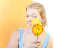 Happy young woman painting wall / Color your life Royalty Free Stock Image