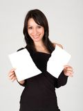 Happy young woman and paper, isolated Stock Images