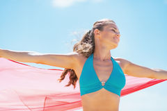 Happy young woman with parero rejoicing on beach Royalty Free Stock Image