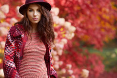 Happy young woman in park on sunny autumn day. Cheerful beautifu Royalty Free Stock Photos