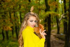 Happy young woman in park on sunny autumn day. Cute girl in good mood posing in autumn day. Outdoor fashion photo of. Young beautiful lady surrounded autumn royalty free stock images