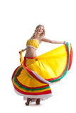 Happy young woman performing mexican dance Royalty Free Stock Photos