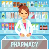 Happy young woman pharmacist sells medications in pharmacy interior. Pharmacology and healthcare vector concept stock illustration