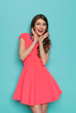 Happy Young Woman In Pink Dress Stock Image