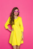Happy Young Woman In Pink Sunglasses Stock Image
