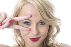 Happy Young Woman Playful Salute Stock Image