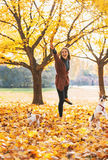 Happy young woman playing with dogs outdoors Royalty Free Stock Photography