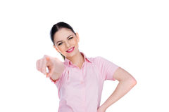 Happy young woman pointing at the camera Stock Photography