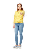 Happy young woman pointing finger on you Royalty Free Stock Images