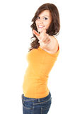 Happy young woman pointing you Royalty Free Stock Photo
