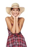 Happy young woman portrait in country style Royalty Free Stock Photos