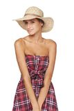 Happy young woman portrait in country style Stock Photos