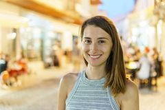Happy Young Woman Portrait Having Fun In City At Night Royalty Free Stock Photos