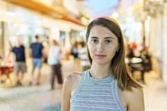 Happy Young Woman Portrait Having Fun In City At Night Royalty Free Stock Image