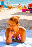 Happy young woman posing in bikini swimsuit Royalty Free Stock Photography