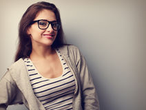 Happy young woman posing in fashion eye glasses. Vintage portrai Stock Image
