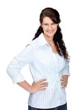 Happy young woman posing on white Royalty Free Stock Photography