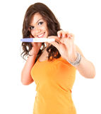 Happy young woman and positive pregnancy test Royalty Free Stock Images