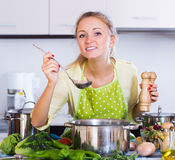 Happy young woman preparing healthy soup Royalty Free Stock Photo