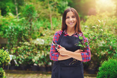 Happy young woman pruning plants in a nursery Stock Images