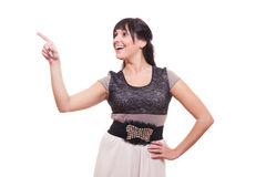 Happy young woman push at something Royalty Free Stock Photo