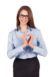 Happy woman put her hands in the form of heart Stock Photos