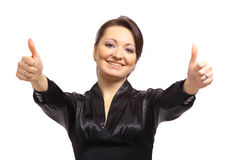 Happy young woman raising Royalty Free Stock Photography