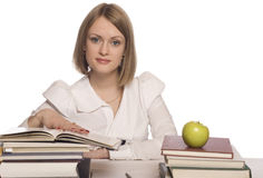 Happy young woman reading book Royalty Free Stock Photography