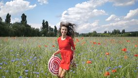 Happy young woman in red dress and big hat Enjoying Nature. Beauty Girl Outdoor walks on a poppy field. Freedom concept stock video