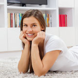Happy Young Woman Relax Royalty Free Stock Photos