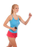 Happy young woman running Royalty Free Stock Photos