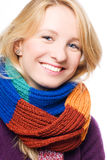 Happy young woman in a scarf Royalty Free Stock Image