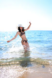 Happy young woman in sea Royalty Free Stock Photos