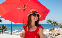 Happy young woman  on seafront background Royalty Free Stock Photography