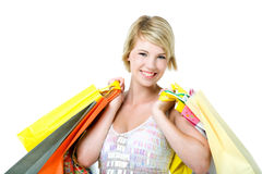 Happy young woman shopping. Stock Image