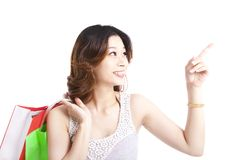 Happy young woman with shopping Royalty Free Stock Images