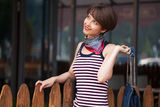 Happy young woman shopping Royalty Free Stock Photography