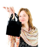 Happy young woman with shopping bag Royalty Free Stock Photo