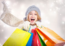 Happy Young Woman with Shopping Bag Royalty Free Stock Photography