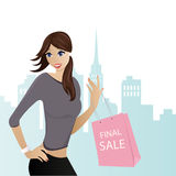 Happy Young Woman With Shopping Bag. Happy young woman shopping on sales Royalty Free Stock Photos