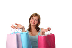 Happy young woman with shopping bags. Young woman with shopping bags psotive and happy1 Royalty Free Stock Images