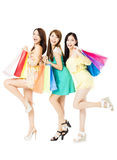 Happy young woman with shopping bags Stock Images
