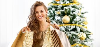 Happy young woman with shopping bags nea. Full length portrait of happy young woman with shopping bags near christmas tree Royalty Free Stock Photo