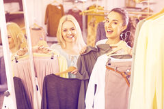 Happy young woman shopping jersey Royalty Free Stock Images