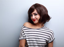 Happy young woman with short hair style looking. Royalty Free Stock Photography