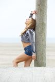 Happy young woman in shorts Royalty Free Stock Photo