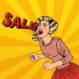 Happy Young Woman Shouting Sale. Big Sale Poster. Pop Art Royalty Free Stock Photography