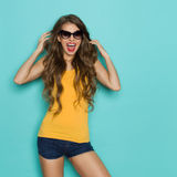 Happy Young Woman Shouting Stock Photography